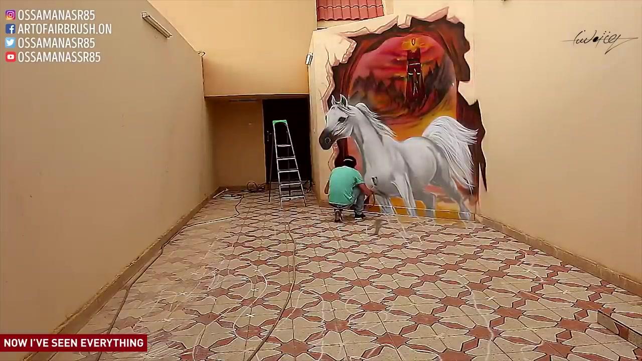 فن الرسم على الجدران ( جرافيتي )  لوحات فنية خلابة