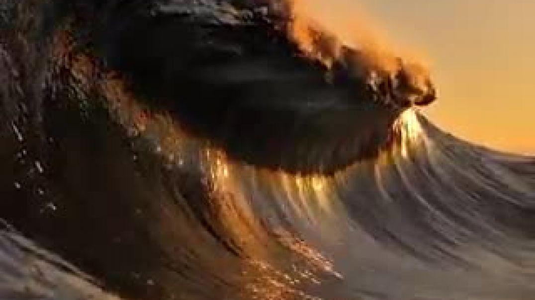 عندما يلامس البحر السماء مع شروق الشمس الذهبي