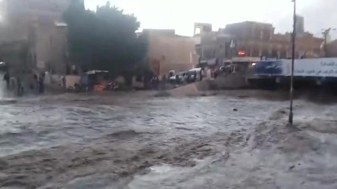 شاهد السيول التى حدثه في صنعاء اليمن