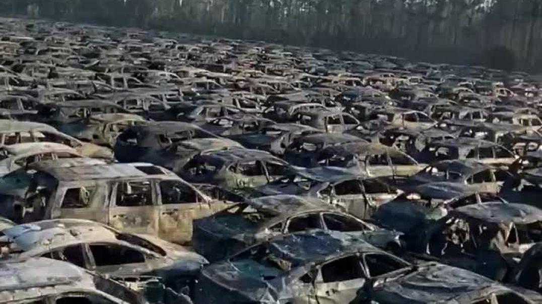 اكبر معرض السيارات با امريكا الحريق التهم جميع السيارات