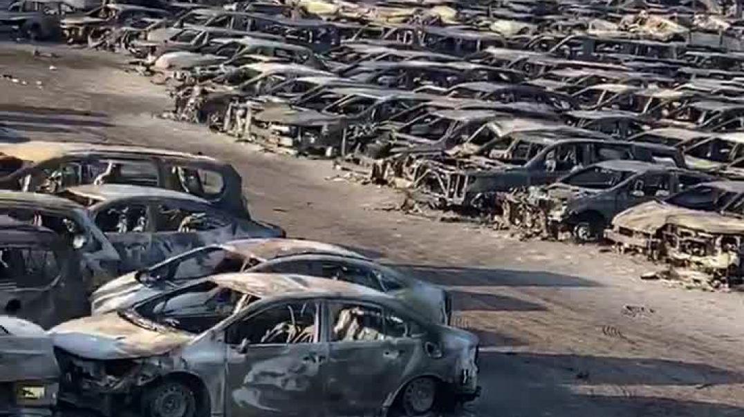 اشتعل النار و إحتراق اكبر معرض لتئجير سيارات في مدينه نيورك الامريكيه إحتراق أكثر من 3500 سياره