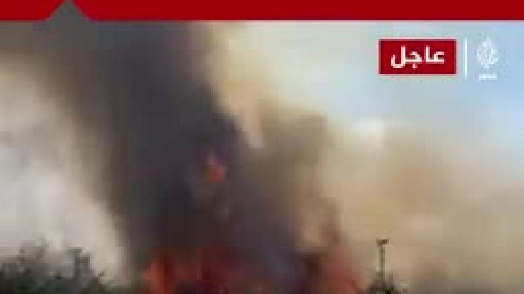 حريق هائل يلتهم الأشجار بميدان الرماية في حي الهرم بالجيزة